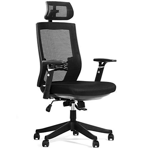Aiidoits Bürostuhl, Ergonomischer Schreibtischstuhl,Höhenverstellbarer Drehstuhl mit Leisen Rollen und Verdicktem Sitzkissen,Einstellbare Armlehne Kopfstütze und Lendenstütze,Chefsessel bis 150 kg