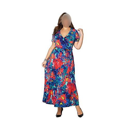 Floral Printing Long Dress Big Size Summer Vintage Women Dress Plus Size Maxi Vestidos,02,L