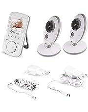Lionelo Babyline 5.1 Babyphone z kamerą, dwukierunkowa komunikacja, zasięg 300 m, dwie kamery w zestawie, tryb nocny, system VOX, system ostrzegawczy, 8 melodii, biały