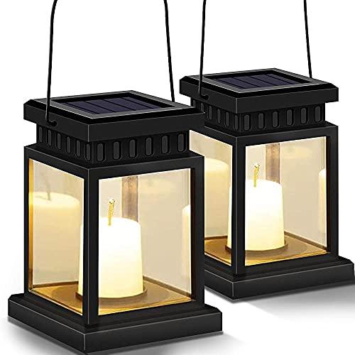 Paquete de 2 linternas solares decorativas para exteriores, linternas solares para colgar al aire libre con 20 luces LED solares de hadas para patio, jardín, patio, fiesta de...