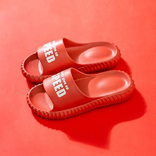 LLRR Zapatillas de casa con punta abierta para hombre, zapatillas de verano gruesas, zapatos de baño para uso doméstico sin dividir - UK4.5-UK5_S rojas, sandalias de ducha antideslizantes