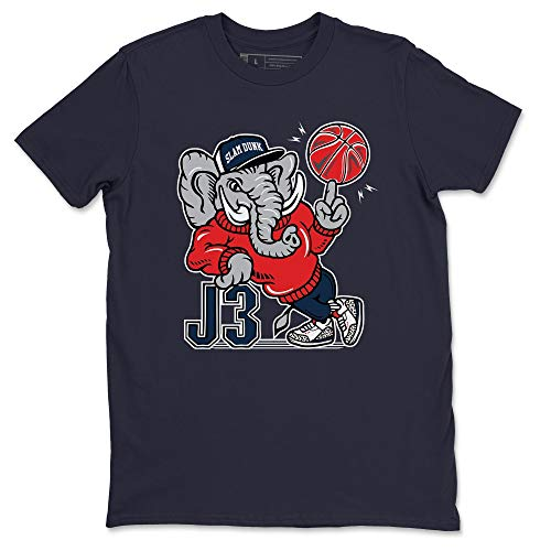 AJ3 Elephant Navy T-Shirt Jordan 3 True Blue Sneaker Outfit - AJ3 Matching Top (Navy/Large)