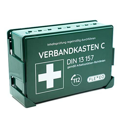Betriebsverbandkasten DIN 13157 gefüllt für Betrieb grün mit Wandhalterung (gemäß ASR) Verbandskasten Erste-Hilfe Kasten Koffer FLEXEO Wandmontage