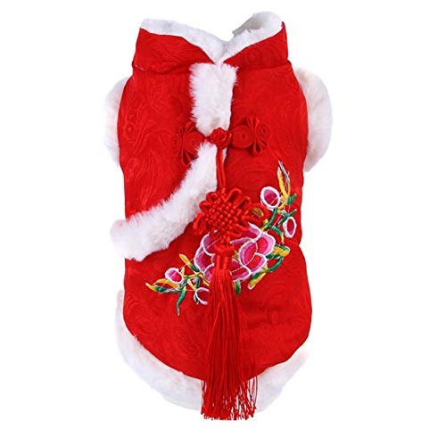 CheeseandU Dog Tang Costume 2022 Chinese Spring Festive Peony Dress with Chinese Knot Decor for Pet Winter Coat Happy New Year Cheongsam Qipao Dresses for Schnauzer Teddy French Bulldog Cat Red