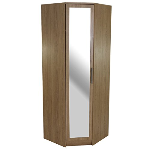 Devoted2Home Humber Bedroom Furniture-1 Door Mirrored Corner Wardrobe-Oak, 64.7x64.7x180 cm