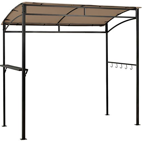 Giantex 7x4.4ft Grill Gazebo, Patio Outdoor Backyard BBQ Canopy Shelter, Soft Top, Heavy-Duty Steel Construction, Storage Shelf, Hanging Hooks, Bear Opening Setting, Anchor Kit (Brown)