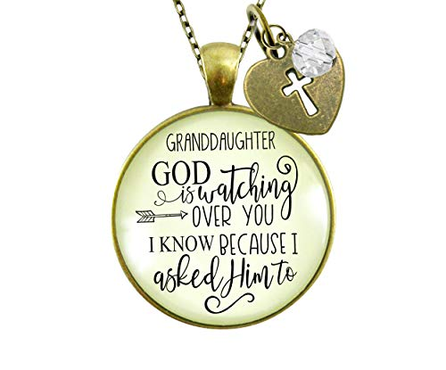 Gutsy Goodness Granddaughter Necklace He is Watching Over You Jewelry Gift from Grandma Grandpa 24