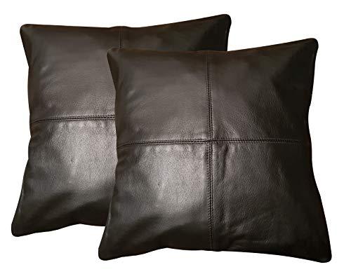 Charlie LONDON - Juego de 2 Fundas de cojín de Piel auténtica para sofá, decoración del hogar
