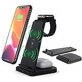 Guijiyi Cargador inalámbrico Rápido,Cargador inalámbrico rápido Universal - 3 en 1 Certificado por Qi 5w/7.5w/10w para iPhone/Airpods/Apple iWatch,Samsung,Pixel 3 y más Qi Enable Phone (Negro)