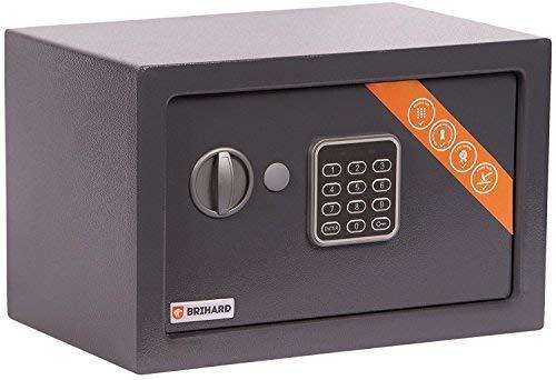 Brihard Home Cassaforte Elettronica, 20x31x20cm (HxWxD), Grigio Titanio