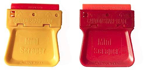 MINISCRAPER Mini Razor Blade Scraper with Two Plastic Blades (2 Pack) Scraper U.S. Made