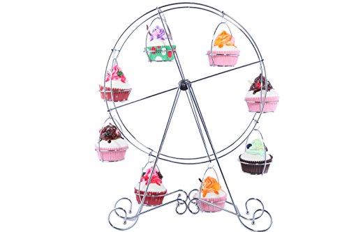Juvale Cupcake-Ständer Riesenrad Perfekte Inszenierung von Backwaren - Für Geburtstag, Hochzeit, Karneval, Motto-Partys, Brunch - Für 8 Cupcakes - Metalldraht - 31,8cm x 44,5cm x 10,2cm