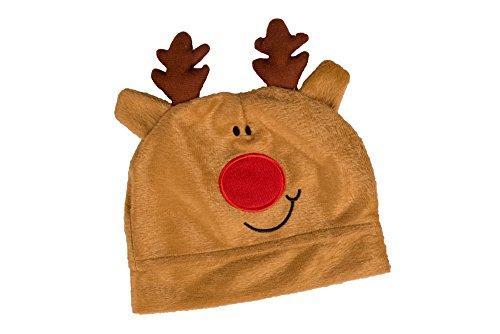 Clever Creations - Gorro navideño de Reno - Marrón - Talla pequeña para niños