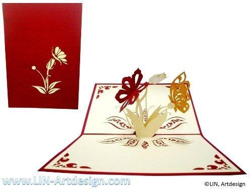 Lin carte de voeux avec motif papillon &fleurs rouge