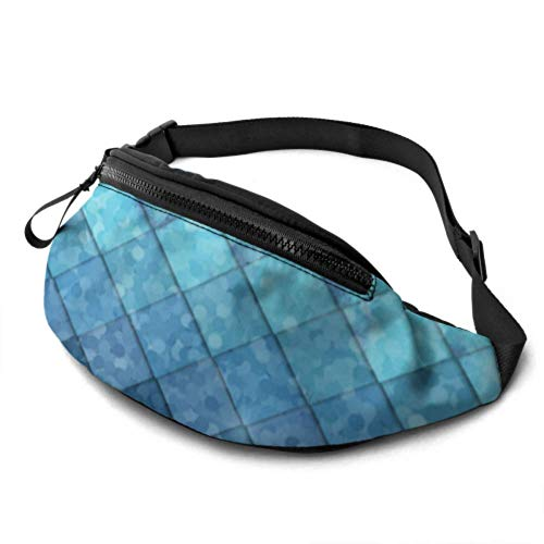 JOCHUAN Sac de Sport à la Taille Royal Blue Mermaid Scales Geometric Rhombus Workout Waist Bag with Headphone Jack and Adjustable Straps Travel Fanny Pack for Men for Travel Sports Randonnée