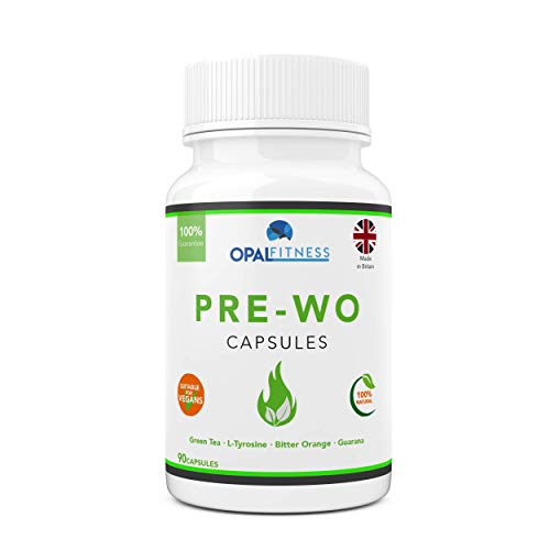 Pre Workout Capsules by Opal Fitness   Thermogenic Weight Management Supplement with Green Tea Extract, Bitter Orange, Tyrosine and Guarana   90 Capsules
