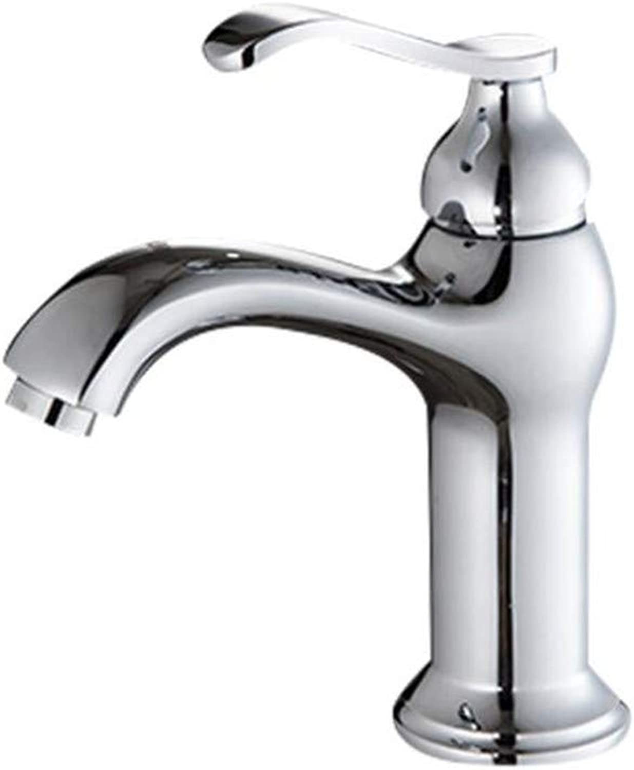 Bathroom Sink Basin Lever Mixer Tap Cold and Hot Water Faucet Single-Hole Basin Faucet Ceramic Spool 304 Stainless Steel Household Faucet