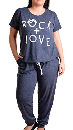 Pijama de Lujo para Mujeres Conjunto de Pijama de Dos Piezas, Traje de casa en Viscosa (2XL, Azul Oscuro)