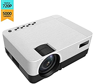 """720P 5000 Lumen Projector, 200 """"HiFi Speaker Video Projector, 2 HDMI Ports, Compact Design for iOS / Android TV Stick Home..."""