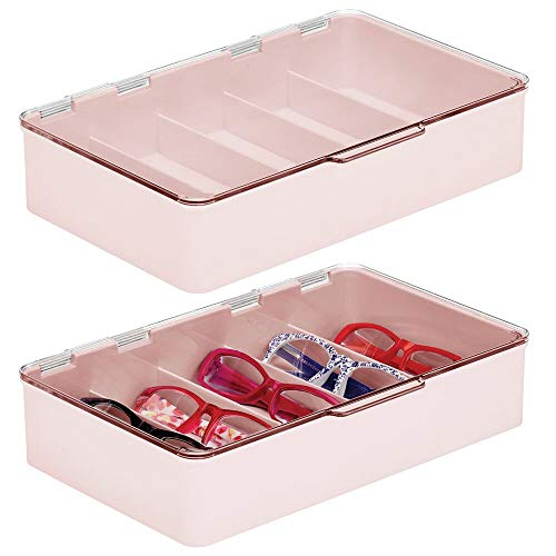 mDesign Plastic Rectangular Stackable Eye Glass Storage Organizer Holder Box for Sunglasses Reading Glasses Fashion Eye Wear Accessories - 5 Sections Hinged Lid 2 Pack - Light PinkClear