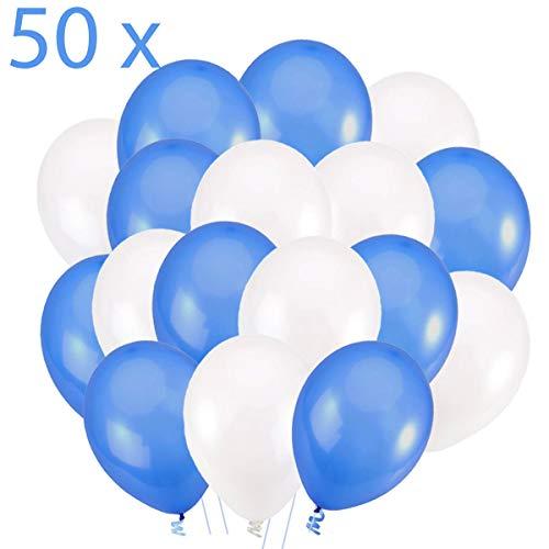 50 Globos Azul Blanco Brilante de 36 cm. Globos de Látex de 3,2g. por Helio. Decoraciones y Accesorios para Fiesta de Cumpleaño y Bautizo