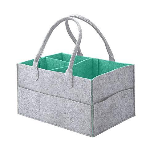Junqin - Caja de Almacenamiento para pañales para bebés, Multifuncional, portátil, de Fieltro, para pañales para bebés, Bolsa de Almacenamiento para guardería, Bolsa de Almacenamiento para toallitas