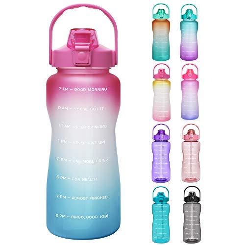 Opard Trinkflasche, BPA Frei Wasserflasche mit Strohhalm, 1-klick Verschluss Auslaufsichere Water Bottle, Zeitmarkierung Sportflasche (Pink Blau)