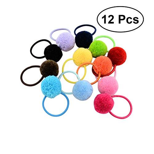 FRCOLOR Legami elastici per capelli con pom pom colorati 12PCS