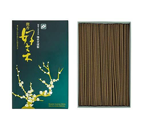 梅栄堂のお線香 微香好文木 短寸平型バラ詰 有煙(緑箱)