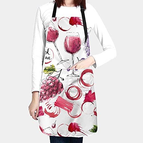 N\A Delantal Impermeable de Copa de Vino Tinto con Dibujo de Acuarela para Adultos, Babero de Chef con Bolsillo Espacioso para Cocina, Barbacoa, Dibujo a Mano