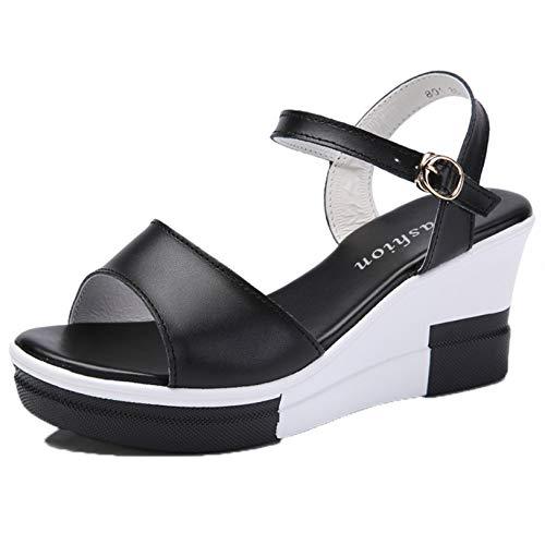 Sandalias para Mujer, concisas, de Color sólido, con Correa en el Tobillo, Punta Abierta, Plataforma Antideslizante, Zapatos de cuña de Verano