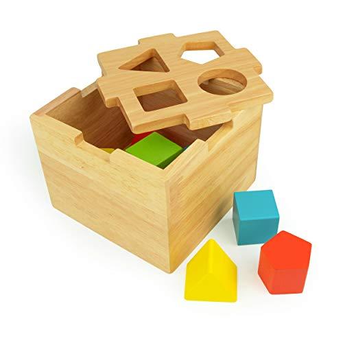 Bimi Boo Steckspiel ab 2 Jahren - Sortierbox Spielzeug - Formensortierspiel aus Holz für Kinder, Sortierspiel Steckwürfel, Lernspielzeug - 8 Bauklötze, 4 Farben und geometrische Formen