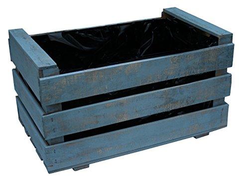 Caja de fruta antigua, jardinera de madera 50x30x27 cm VINTAGEBOX, pintada azul grisáceo