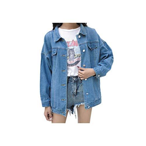 KKK-3boss Women Blue Long Sleeve Loose Denim Jackets Spring Autumn Korean Style Casual Clothes Basic Coats,Light Blue,XL