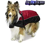 Derby Originals Ruff Pup 1200D Ripstop Waterproof Reflective Winter Dog Coat with Neck Cover and Harness Compatible Opening 220G