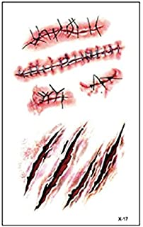Halloween Zombie Scars Tattoo Stickers Halloween Decorations False Wounds Horror Blood Scarf Stickers - Red