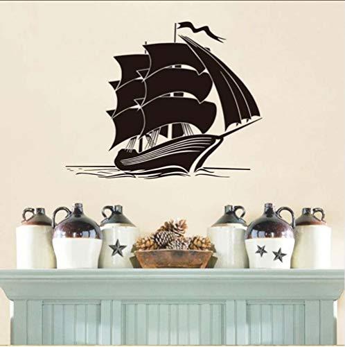 Zlxzlx Hot Sale Schip Muurstickers Vinyl Verwijderbare Home Decor Kids Slaapkamer Muurstickers Zee Boot Interieur Decoratie 73 * 56Cm