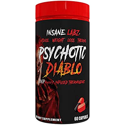 Insane Labz Psychotic Diablo Thermogenic Fat Burner for Men and Women with Grains of Paradise Theobromine Dandelion Root Extract Fueled by AMPiberry, Appetite Suppressant - 60 Servings