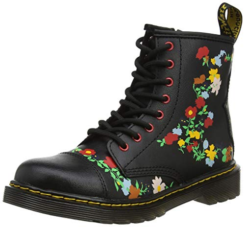 Dr. Martens Mädchen 1460 Pooch Flower J Kurzschaft Stiefel, Schwarz (Black Multi 019), 29 EU