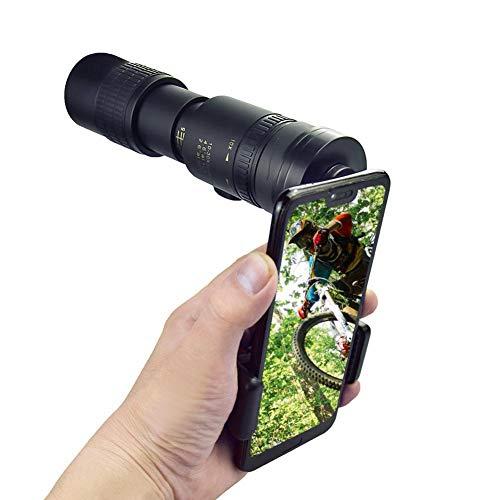 Teleskop Tragbares 4K 10-300X40mm Super Telephoto Zoom Monokular Teleskop, wasserdichtes nebelsicheres Monokular für Smartphones Vogelbeobachtung/Jagd/Camping (mit Stativ und Clip)