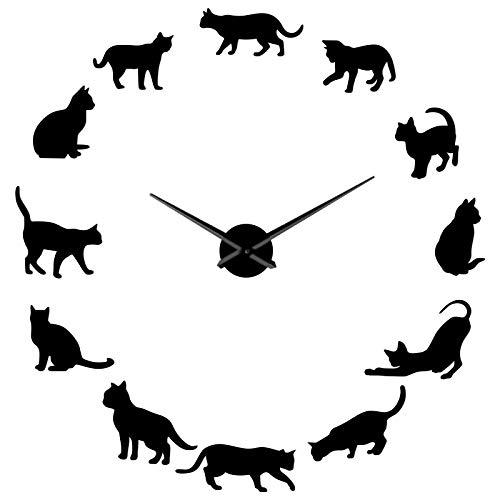 Kit de Interior Moderno con Tema de Gatos, Arte de Pared sin Marco, Grandes Relojes de Pared DIY, Pegatinas de Espejo Mudo, decoración de Escena temática, Negro, 70 cm