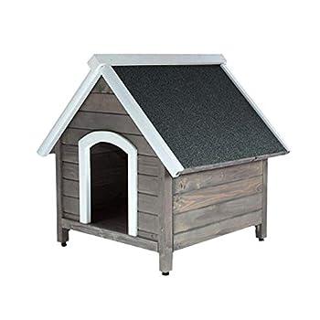RM E-Commerce Niche pour chien, maisonnette en bois, cabane isolée pour extérieur taille M, chenil gris 80x88,5x81cm
