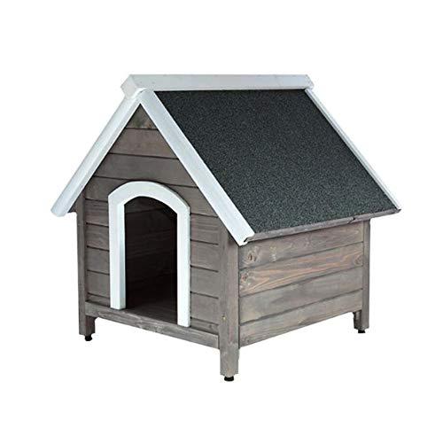 RM E-Commerce Hundehütte Outdoor Garten, Hundehaus aus Holz mit Spitzdach, Holzhütte für kleine und mittlere Hunde, 80x88,5x81cm