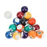 AMONIDA Resin Billiard Ball, Mini Pool Table 32mm Billiard Ball Pool Table, Billiard Table Accesssory Table Top Games for Sport Children Pool Game Home