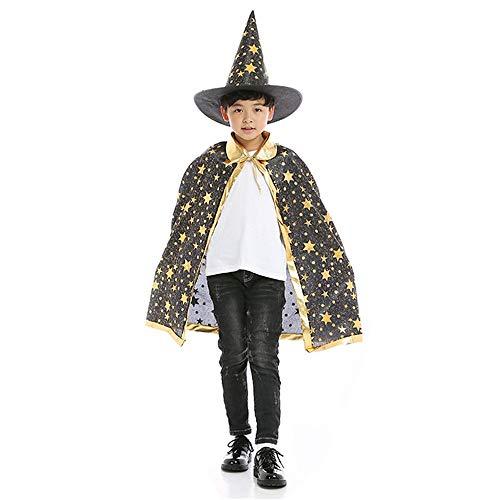 BJ-SHOP Capa de Halloween para Niños, Capa de Brujo Mago Disfraces de Halloween para Niños con Sombrero para Niños, Accesorios de Halloween (Negro)