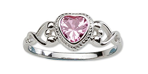 Sterling Silver October CZ Simulated Birthstone Baby Ring with Heart