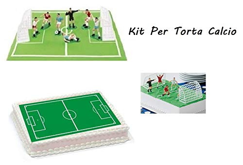 ARCOBALENOPARTY Kit per Torte Calcio Ostia Campo di Calcio con Set Giocatori 7 Pezzi