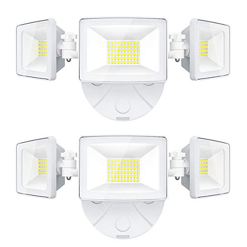 Onforu 2 Pack 50W LED Security Light, 5000LM Outdoor Flood Lights Fixture with 3 Adjustable Heads, IP65 Waterproof, 5000K Super Bright Exterior Wall Mount Security Light for Eave, Yard, Garden, Porch