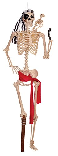 Pirate Posable Life Size Plastic Skeleton for Halloween Decor