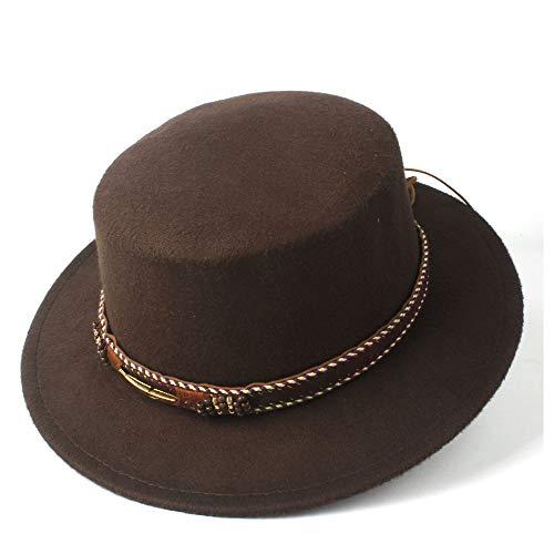 Men Flat Top Hat von Frauen ähnlich wie Pork Pie Hat mit Lederband for den Frühling (Farbe : Kaffee, Größe : 56-58)